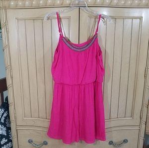 iZ Byer Hot Pink Mini Dress W/Breads, sz Large